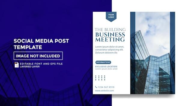 Erstellen einer social-media-postvorlage für ein geschäftstreffen