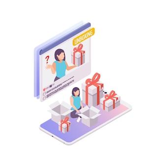 Erstellen eines videos für die 3d-illustration des isometrischen unboxing-blogs