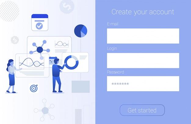 Erstellen sie ein konto formular app werbung flat banner