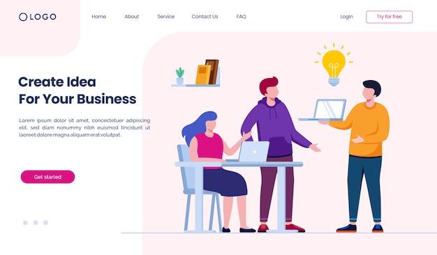 Erstellen sie eine idee für ihre business-landingpage-website