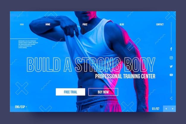 Erstellen sie ihre body sport landing page vorlage