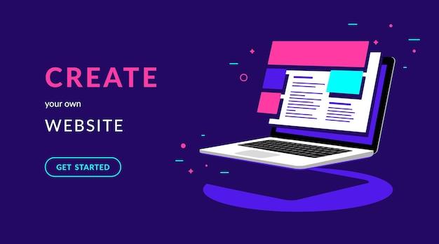 Erstellen sie ihre eigene website flache vektor-neon-illustration für web-banner mit text und schaltfläche