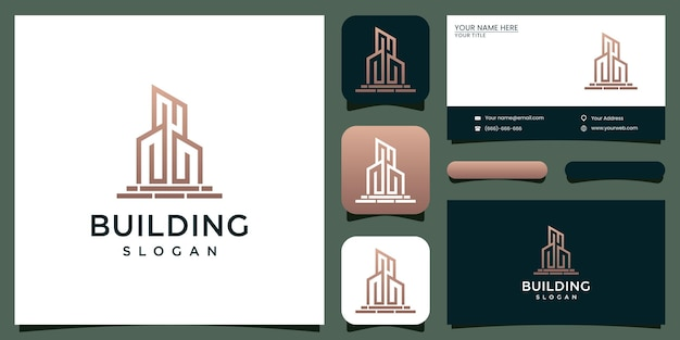 Erstellen sie inspirierende logo-designs mit liniendesigns und visitenkarten-design
