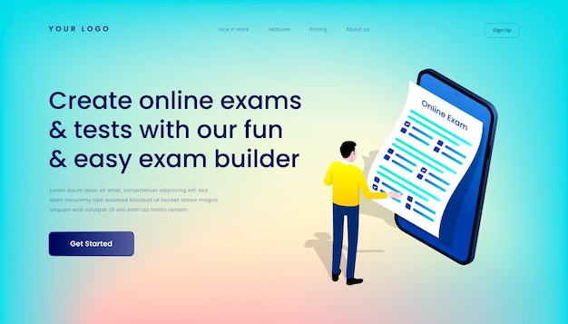 Erstellen sie online-prüfungen und -tests mit unserer unterhaltsamen und einfachen landing page-vorlage für den prüfungsersteller mit der mobilen benutzeroberfläche von isometric 3d illustration