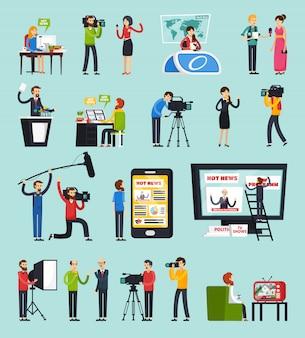 Erstellen von news orthogonalen icons set