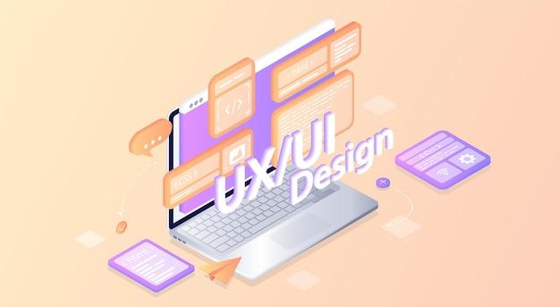 Erstellt ein benutzerdefiniertes design für eine anwendung ui ux design isometrische entwicklung von anwendungen