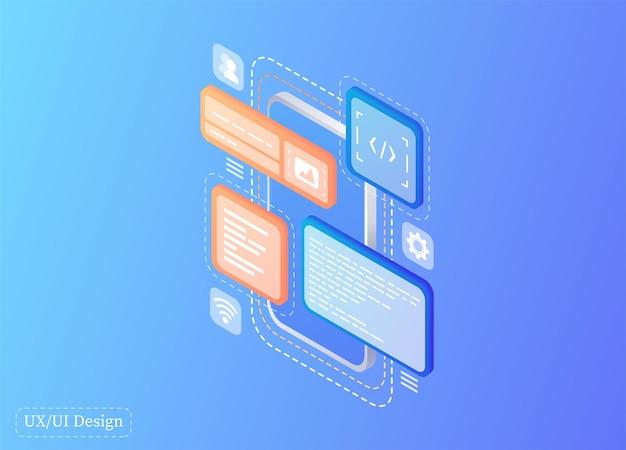 Erstellt ein benutzerdefiniertes design für eine mobile anwendung ui-ux-design entwicklung von anwendungsdesign programmiergeräte digitale kommunikation webbanner zielseitenvorlage homepage