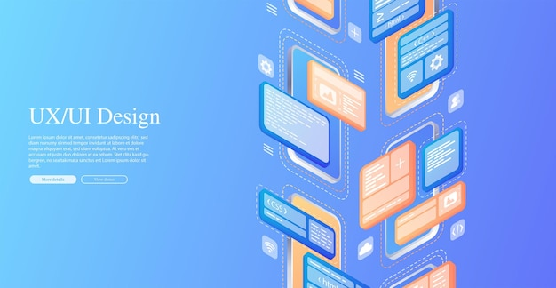Erstellt ein benutzerdefiniertes design für eine mobile anwendung ui-ux-design entwicklung von anwendungsdesign