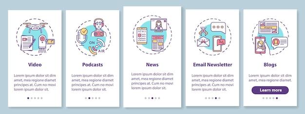 Erstellung digitaler inhalte beim onboarding mobiler app-seitenbildschirme mit konzepten. anleitung zum bloggen und podcasting in 5 schritten mit grafischen anweisungen. ui-vektorvorlage mit rgb-farbabbildungen