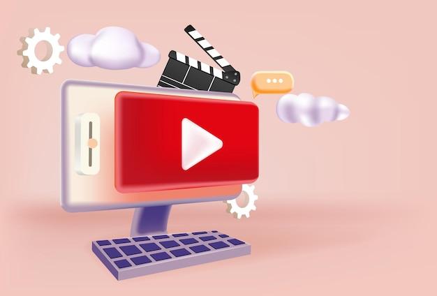 Erstellung von videoinhalten d vektorillustration online-werbung