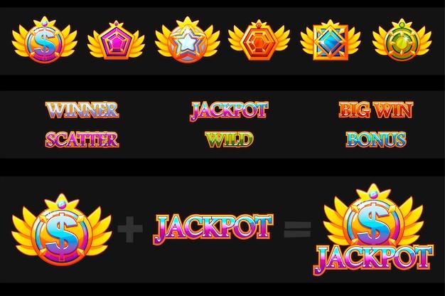 Erstellungsspielautomat und spielsymbole. bunte schmucksteine. icons konstruktor. spiel-asset für casino und ui