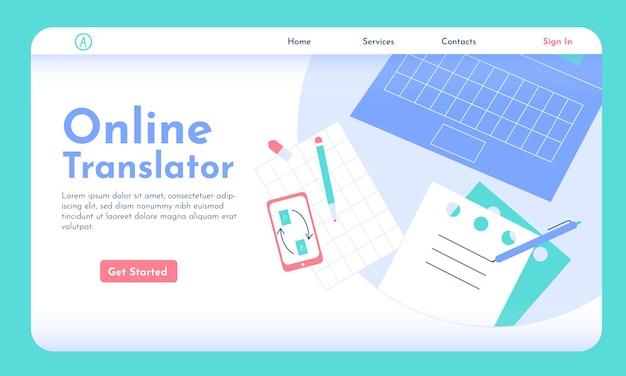 Erster bildschirm der online-übersetzer-website