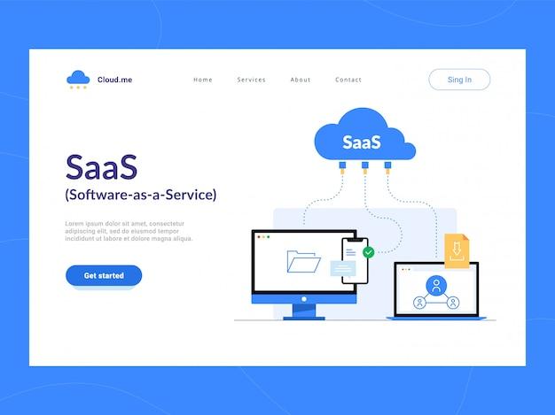 Erster bildschirm der saas- oder software as a service-zielseite. remote-online-zugriff auf das cloud-anwendungsdienstschema. optimierung von geschäftsprozessen für startups, kleine unternehmen und unternehmen.