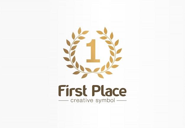 Erster platz, nummer eins, kreatives symbolkonzept mit goldenem lorbeerkranz. trophäe, preis abstrakte geschäftslogoidee. auszeichnung, gewinn, gewinner-symbol