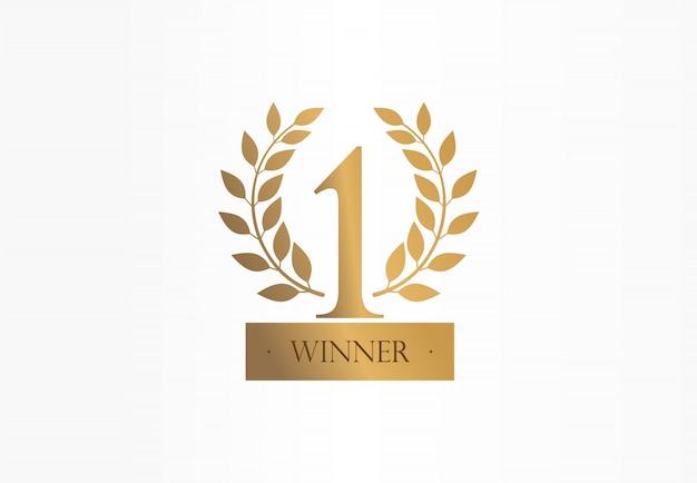 Erster platz, nummer eins, kreatives symbolkonzept mit goldenem lorbeerkranz. trophäe, tasse abstrakte geschäftslogoidee. auszeichnung, gewinn, gewinner-symbol