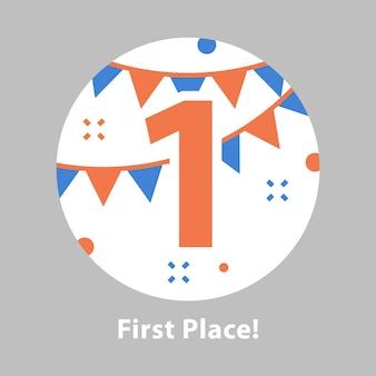 Erster platz, preisverleihung, nummer eins, feierliches ereignis, erfolgreiche durchführung, belohnungsprogramm, flache illustration
