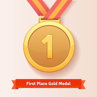 Erster platz vergibt goldmedaille mit rotem band
