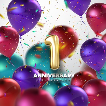 Erstes jubiläumsfeierschild mit goldener nummer 1 und luftballons