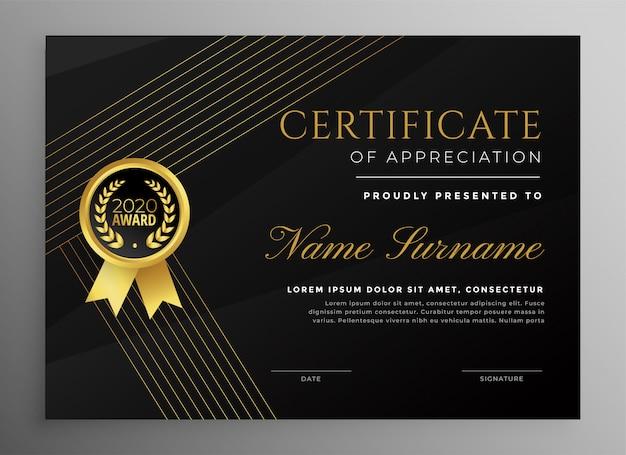 Erstklassige schwarze zertifikatvorlage mit goldenen linien
