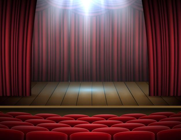Erstklassiger roter vorhangstadiums-, theater- oder opernhintergrund mit scheinwerfer