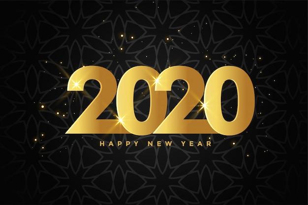Erstklassiger schwarzer hintergrund des goldenen 2020 neuen jahres