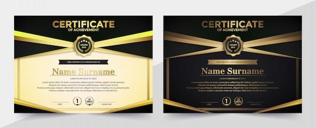 Erstklassiges goldenes schwarzes zertifikatschablonendesign