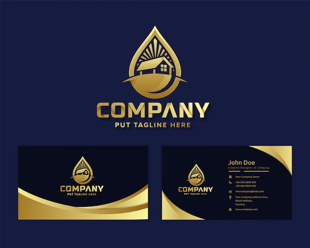 Erstklassiges luxus-natur-öko-logo mit echtem staatsgebäude
