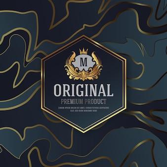 Erstklassiges luxusverpackungs-design mit heraldischem emblem-aufkleber