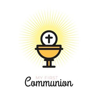 Erstkommunion-symbole für ein schönes einladungsdesign