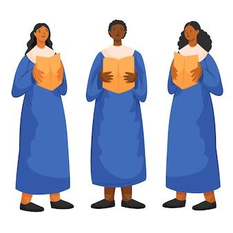 Erwachsene, die zusammen in einem gospelchor singen
