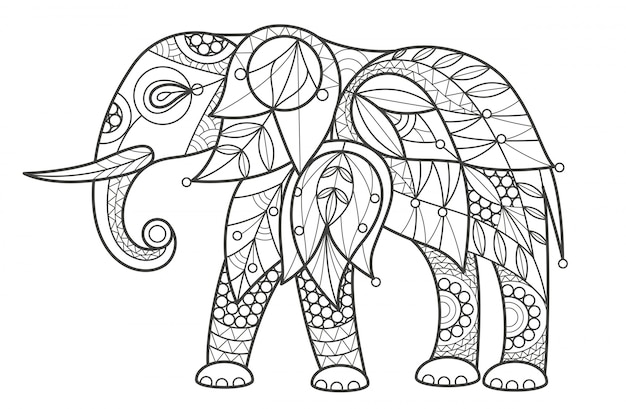 Erwachsene färbung. elefant.