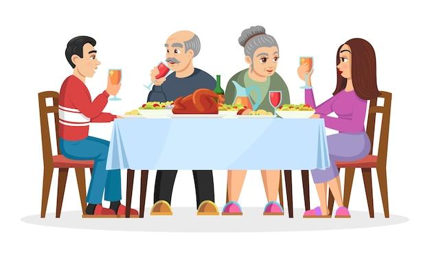 Erwachsene kinder lernen die eltern ihres auserwählten kennen. freundliche familie feiert urlaub zu hause, isst leckereien.