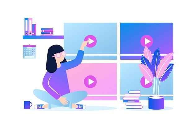 Erwachsene lernen und nehmen an online-kursen teil