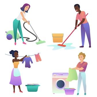 Erwachsene leute, die drinnen aufräumen. nach hause putzen.