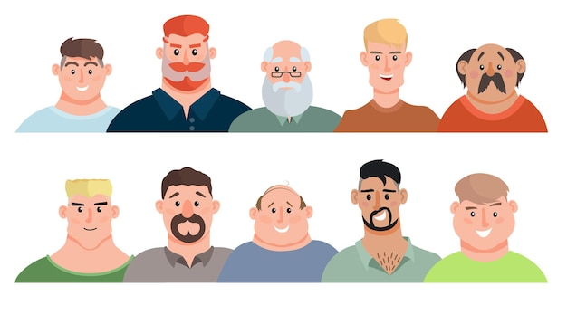 Erwachsene männer avatare gesetzt. junge männer, jugendliche, ältere männer. gesicht avatare porträts, multikulturelle menschliche kopf porträts.