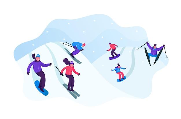 Erwachsene menschen gekleidet in winterkleidung skifahren und snowboarden. karikatur flache illustration
