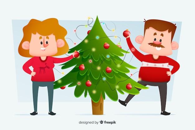 Erwachsene paare, die den weihnachtsbaum verzieren