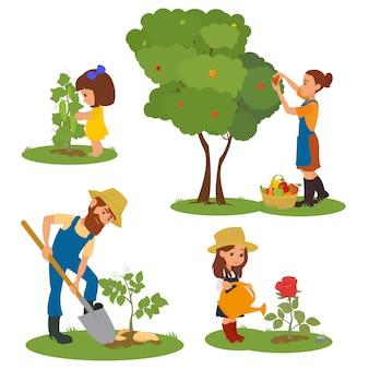 Erwachsene und kinder, die im garten arbeiten. eine familie mit kindern, die sich um pflanzen kümmert.