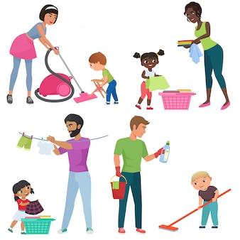 Erwachsene und kinder putzen zusammen. kinder helfen ihren eltern bei der hausarbeit. familie in verschiedenen reinigungspositionen karikaturillustration.