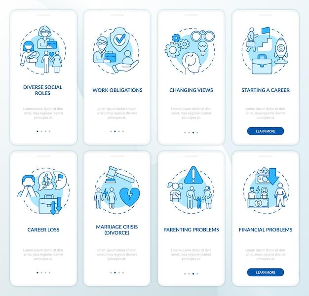 Erwachsenentwicklung onboarding mobiler app-seitenbildschirmsatz. anleitung zum ändern von ansichten in 4 schritten mit grafischen anweisungen mit konzepten. ui-, ux-, gui-vektorvorlage mit linearen farbillustrationen
