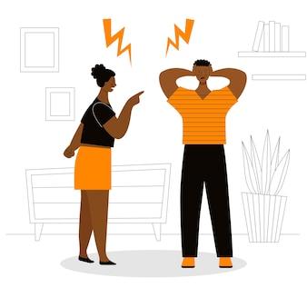 Erwachsener afrikanischer mann und frau streiten. konzept von familienkonflikten, ressentiments, aggression, scheidung. mann und frau schreien und fluchen. flache vektorillustration isoliert.