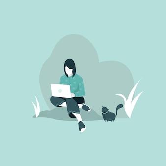 Erwachsener arbeitet am laptop im park, freiberuflerin sitzt mit einem laptop im park.