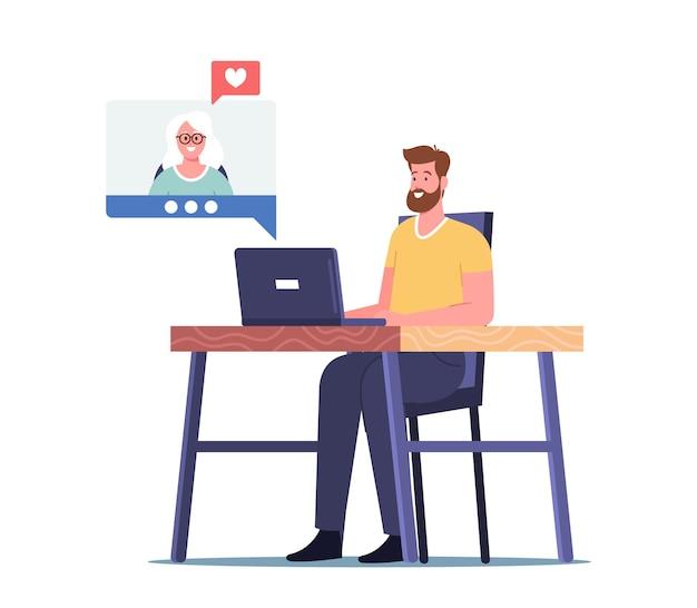 Erwachsener männlicher charakter, der online mit mama chattet und zum muttertag oder geburtstag gratuliert. liebevolle familienbeziehungen, fernkommunikation, internetverbindung, liebe. cartoon-menschen-vektor-illustration