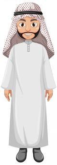 Erwachsener mann arabisch, der arabischen kostümcharakter trägt