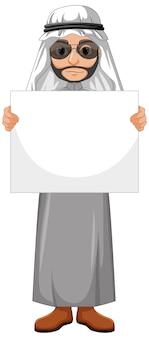 Erwachsener mann arabisch, der arabisches kostüm trägt und leeres banner hält