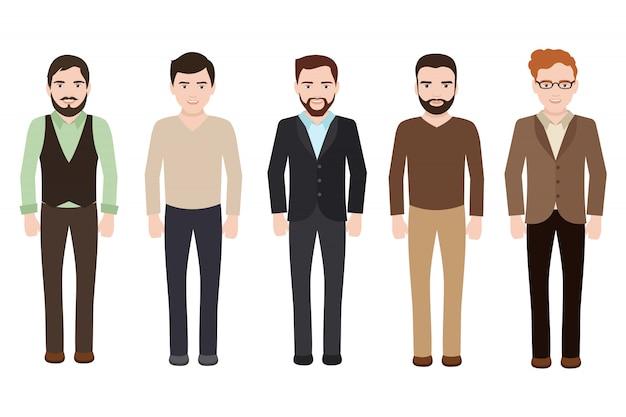 Erwachsener mann gekleidet in business- und freizeitkleidung. vektor männliche charaktere isoliert
