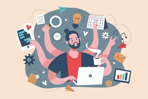 Erwachsener mann multitasking-konzept