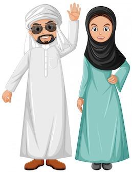 Erwachsenes arabisches paar, das arabischen kostümcharakter trägt