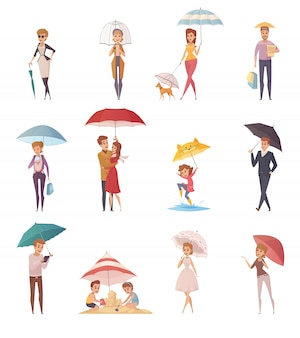 Erwachsenleute und -kinder, die unter regenschirm der verschiedenen dekorativen ikonen der form und der größe eingestellt werden
