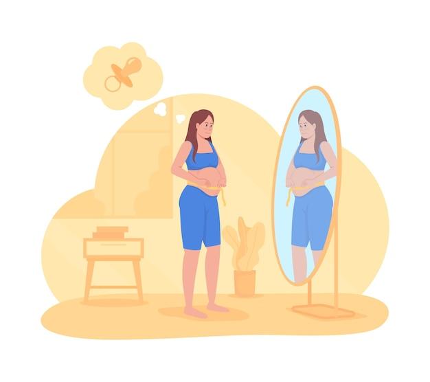 Erwartete mutter 2d-vektor isolierte illustration. schwangere frau, die im spiegel schaut. dame, die babybauch misst. junge zukünftige eltern flacher charakter auf cartoon-hintergrund. schwangerschaft bunte szene